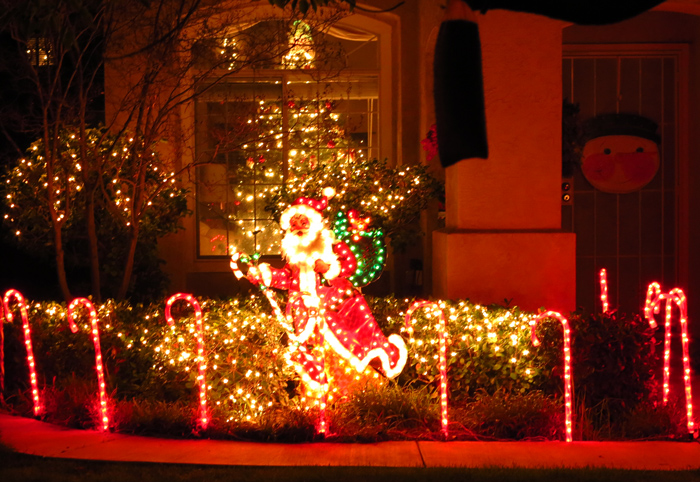 Santa Christmas lights: red and white