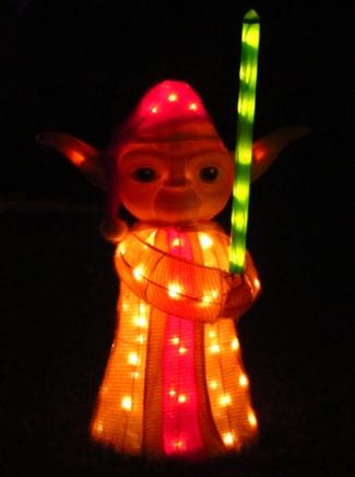 Yoda Christmas light display