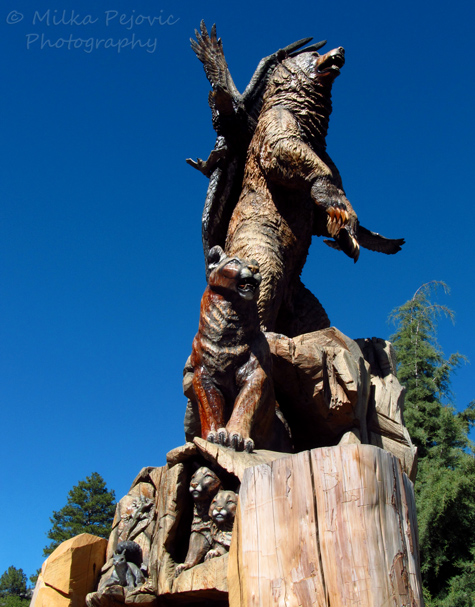 Wildlife wood sculpture in Idyllwild California