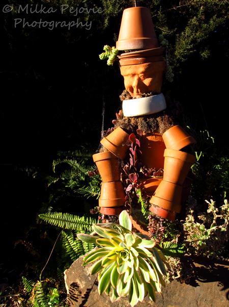 Sculpture out of planting pots