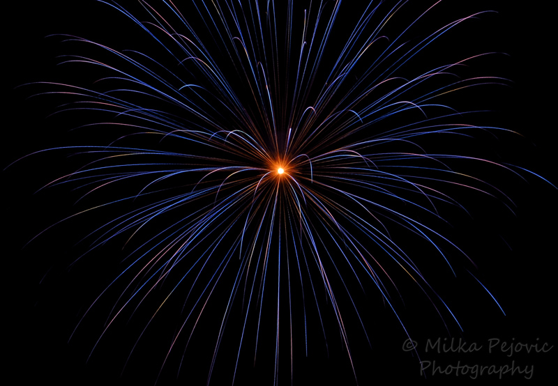 Blue and yellow fireworks