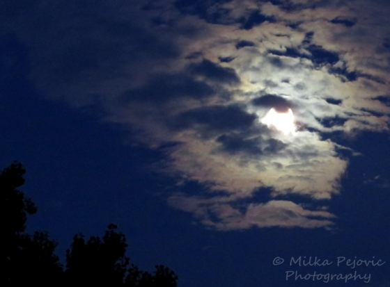 Moon hiding behind the clouds