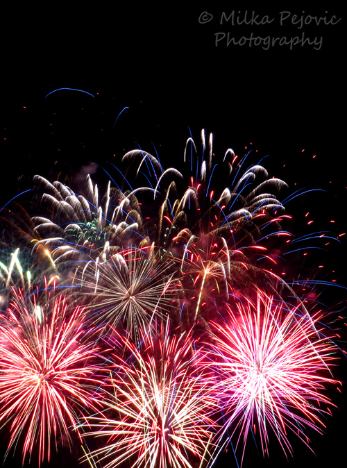 Burst of firework displays