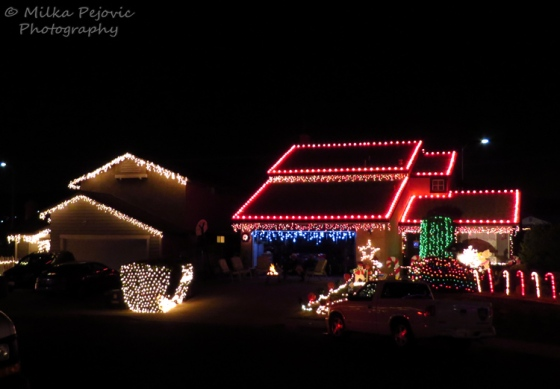 Christmas light decorations on homes