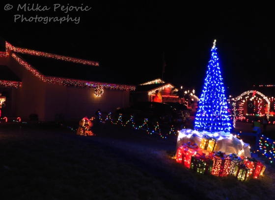 Christmas light diplay on front yard