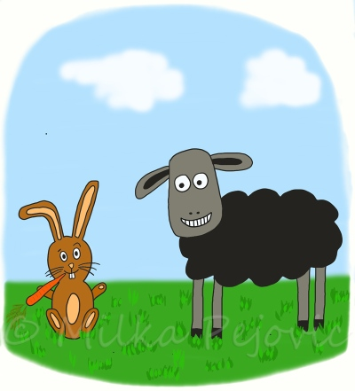 Tablet drawing: rabbit and sheep waiting to play together