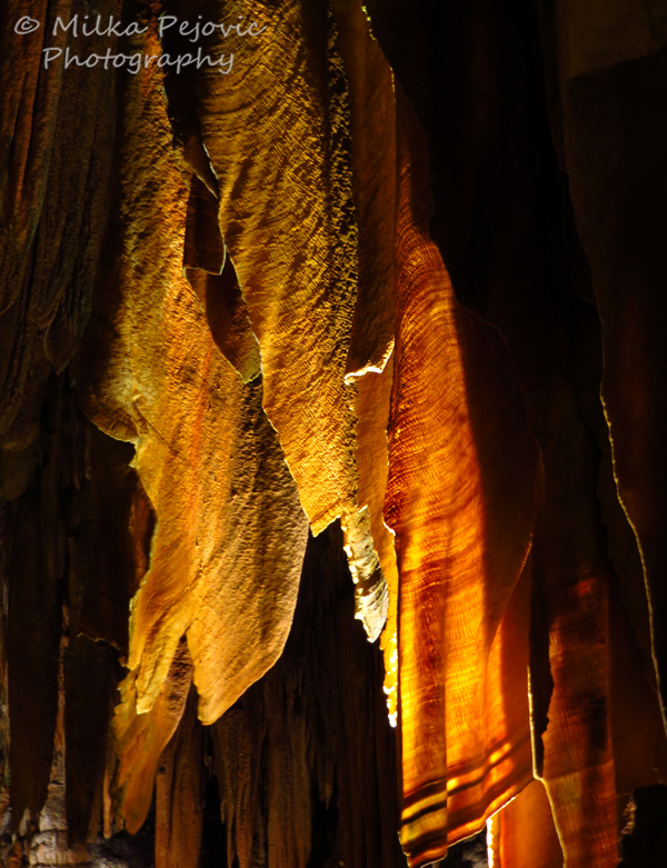 Luray caverns - stalactites with orange backlight